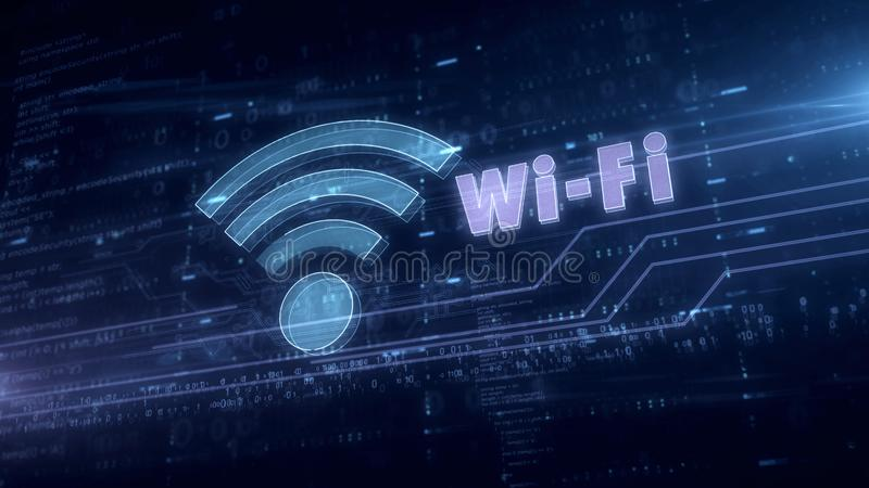 Wifi通信蓝色全息图 库存例证