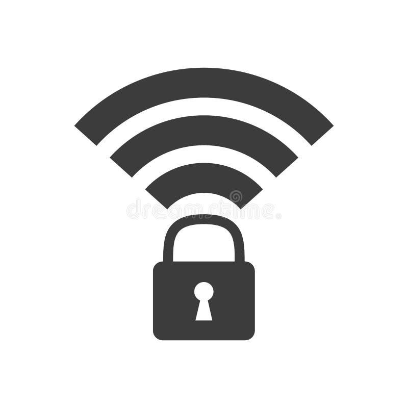 Wifi锁了在白色背景的标志 皇族释放例证