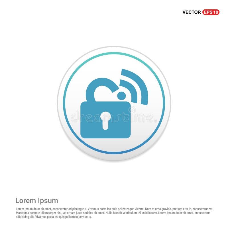 Wifi锁了标志-白色圈子按钮 库存例证