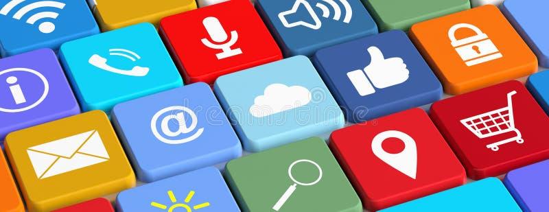 WiFi,手推车,赞许,电子邮件,查寻,在键盘的锁 3d例证 皇族释放例证