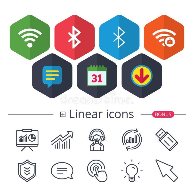 Wifi και εικονίδιο Bluetooth Ασύρματο κινητό δίκτυο απεικόνιση αποθεμάτων