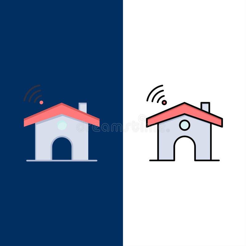 Wifi, υπηρεσία, σήμα, εικονίδια σπιτιών Επίπεδος και γραμμή γέμισε το καθορισμένο διανυσματικό μπλε υπόβαθρο εικονιδίων διανυσματική απεικόνιση