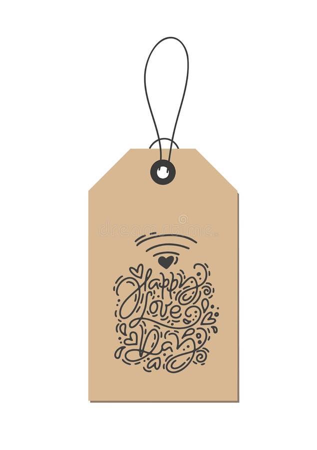 Wifi дня любов фразы каллиграфии monoline вектора счастливое на бирке kraft Изолированная литерность руки дня Святого Валентина в иллюстрация штока