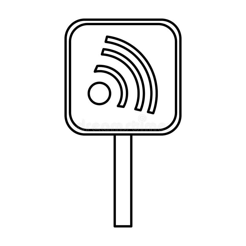 Σήμα κυκλοφορίας με τα κύματα wifi ελεύθερη απεικόνιση δικαιώματος