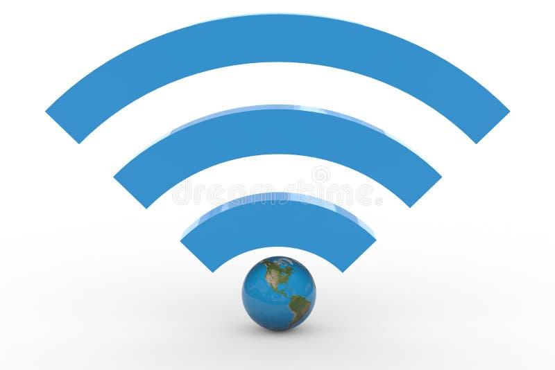 wifi 3D Zeichen mit Erdekugel. Hohes Signal. lizenzfreie abbildung