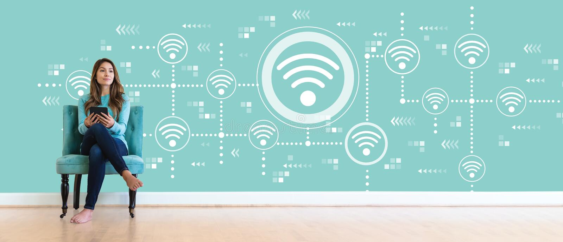Wifi begrepp med den unga kvinnan royaltyfria bilder