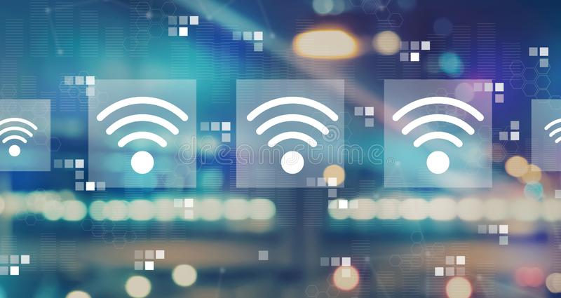 Wifi concept with blurred city lights. Wifi concept with blurred city abstract lights background royalty free illustration