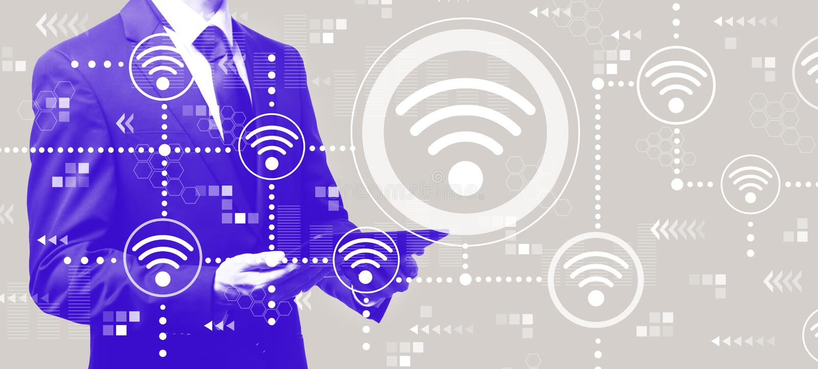 Wifi concept with businessman holding a tablet. Computer vector illustration