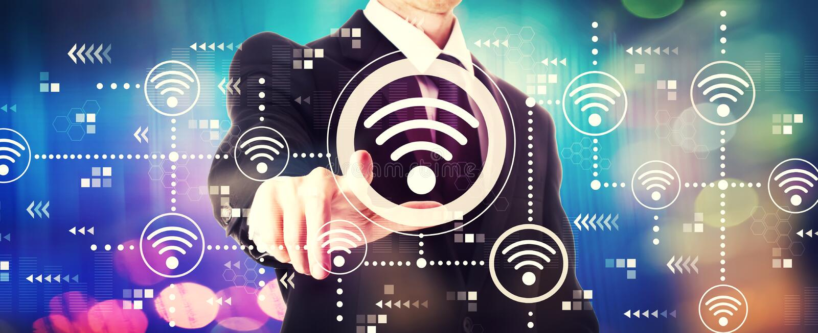 Wifi concept with a businessman stock images