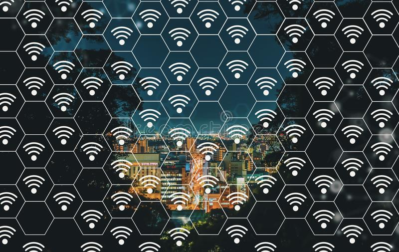 WiFi concept with Mtsuyama city in Japan. WiFi concept with aerial view of city at night royalty free illustration