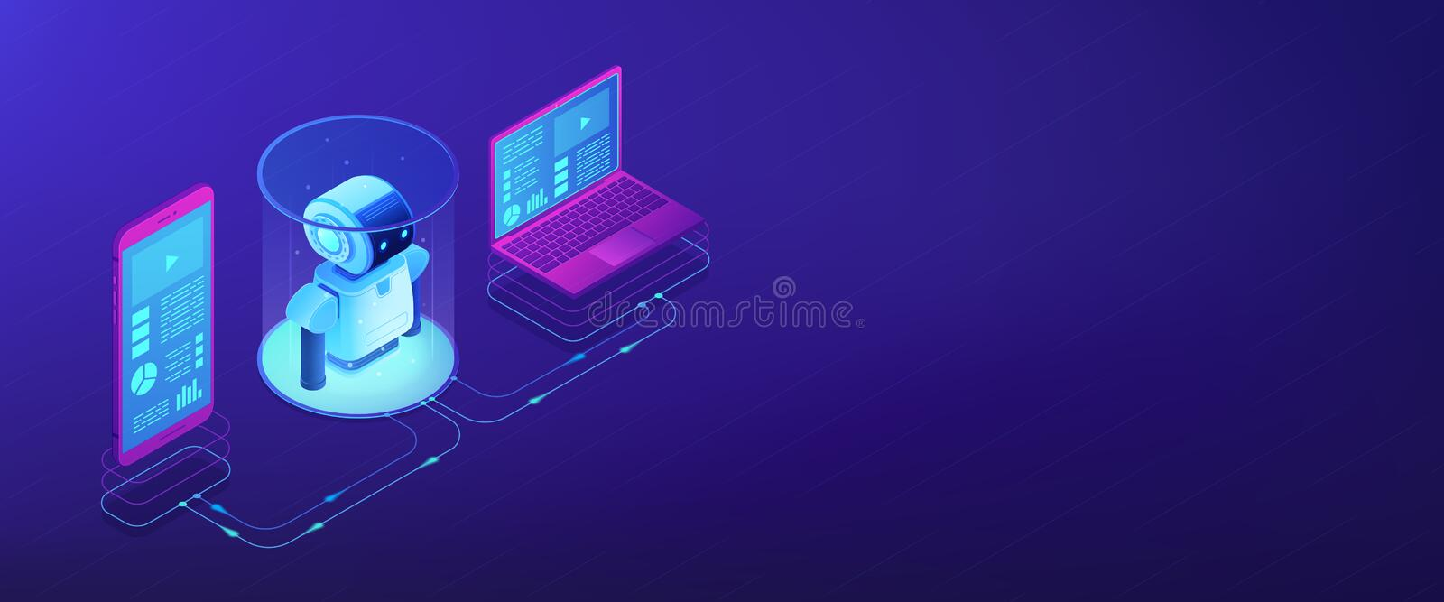 WiFi controlled robotics isometric 3D banner header. Modern robotics system connected with mobile phone and laptop. WiFi controlled robotics, robotics vector illustration