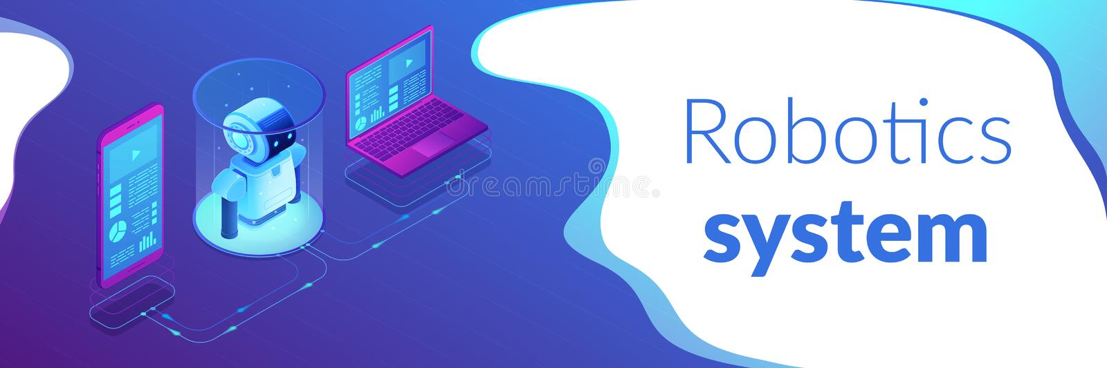 WiFi controlled robotics isometric 3D banner header. Modern robotics system connected with mobile phone and laptop. WiFi controlled robotics, robotics royalty free illustration