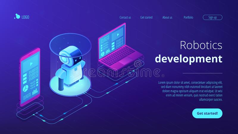 WiFi controlled robotics isometric3D landing page. Modern robotics system connected with mobile phone and laptop. WiFi controlled robotics, robotics development vector illustration