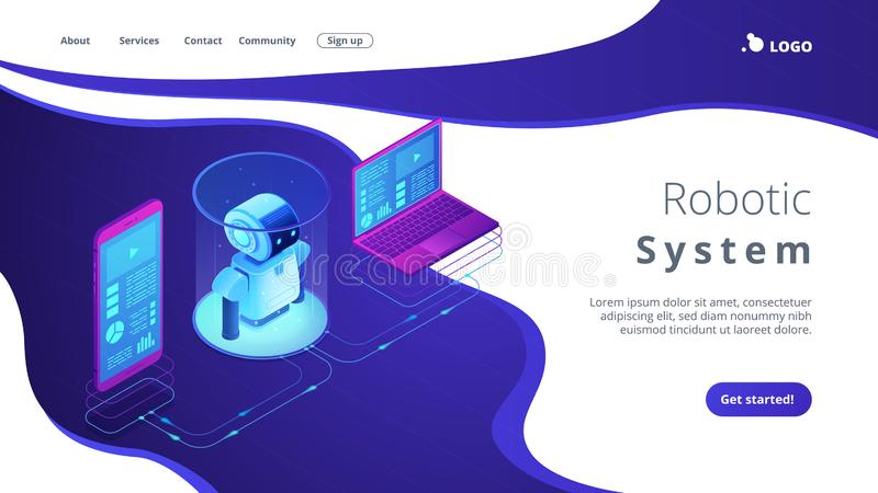 WiFi controlled robotics isometric3D landing page. Modern robotics system connected with mobile phone and laptop. WiFi controlled robotics, robotics development royalty free illustration
