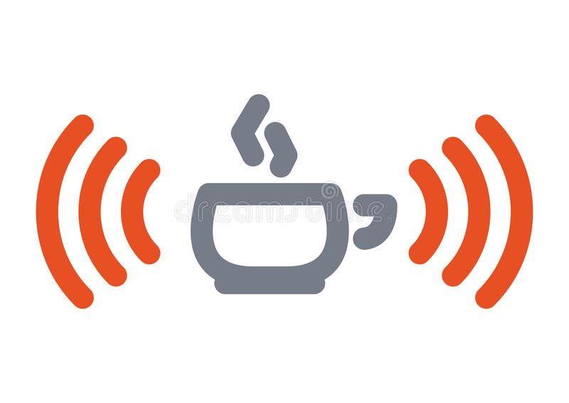 Wifi cup icon. Internet icon: hot cup with wifi wireless signal
