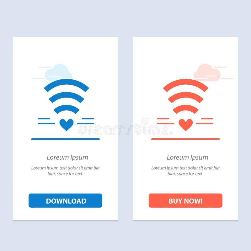 Wifi, de Liefde, het Huwelijk, de Hart Blauwe en Rode Download en kopen nu de Kaartmalplaatje van Webwidget royalty-vrije illustratie