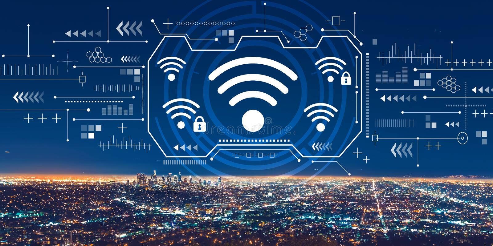 Wifi with downtown Los Angeles. At night stock image
