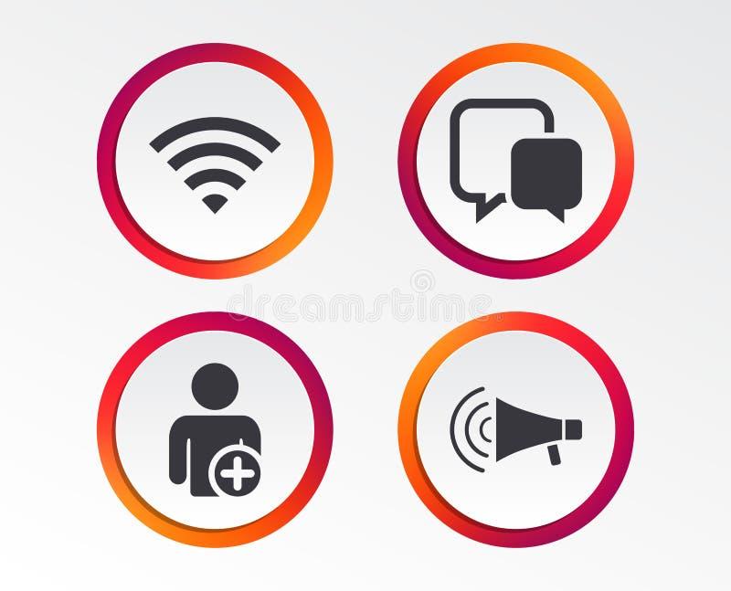 Wifi e bolle di chiacchierata Aggiunga l'utente, megafono illustrazione vettoriale