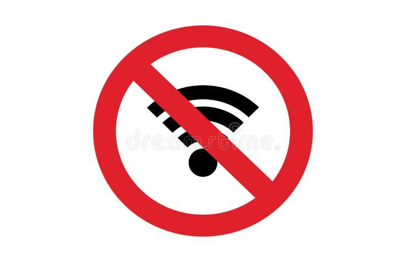 Wifi geen toegestane verbodsstreek rood symbool royalty-vrije stock afbeeldingen