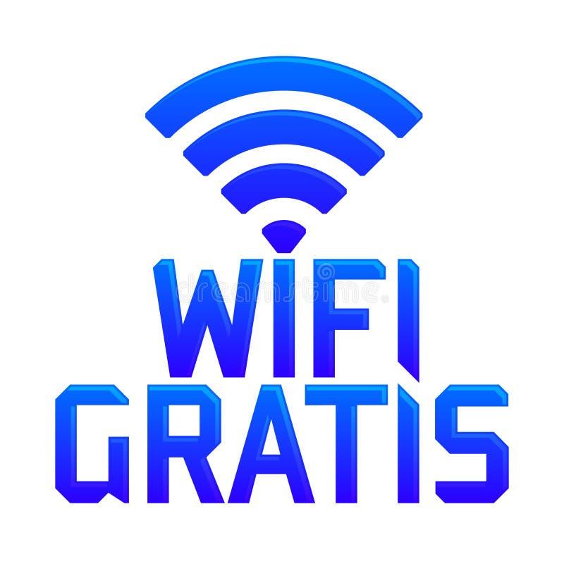 Wifi gratuitement, traduction espagnole : Zone gratuite de Wifi illustration de vecteur
