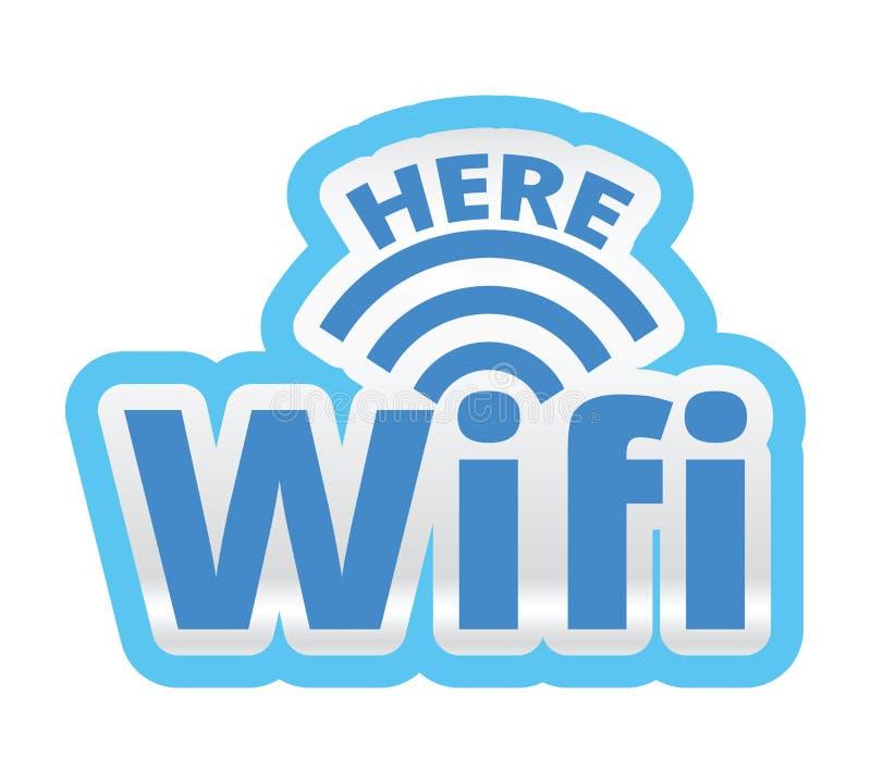 WiFi Here Logo Symbol Sticker Illustration stock photos
