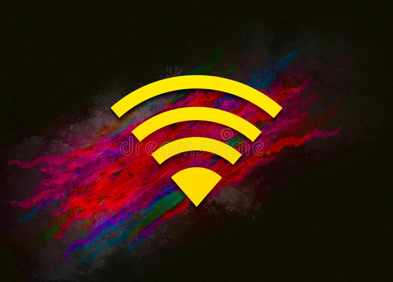 Wifi icon colorful paint abstract background brush strokes illustration design. Creative bright red color texture fluid liquid waves royalty free illustration