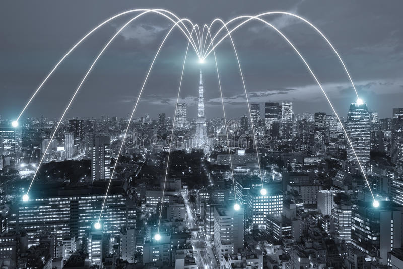 Wifi icon and Tokyo city with network connection concept, Tokyo. Smart city and wireless communication network, abstract image visual, internet of things stock illustration