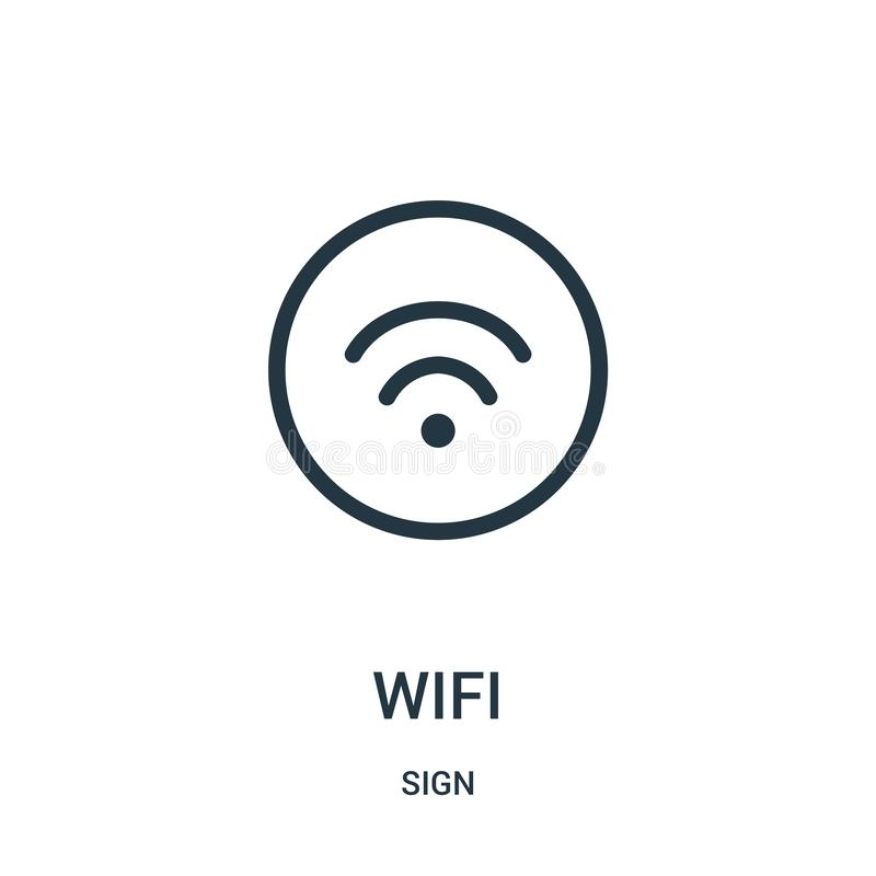 wifi icon vector from sign collection. Thin line wifi outline icon vector illustration stock illustration