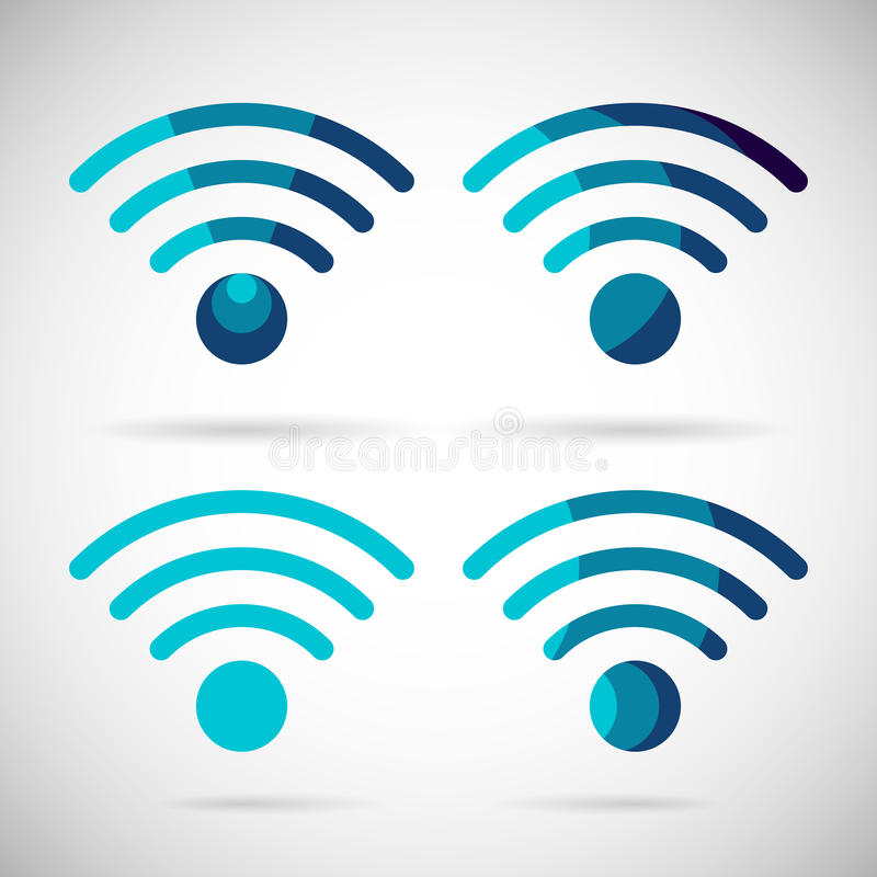 WiFi Icon Wireless Internet connection Flat Design stock illustration