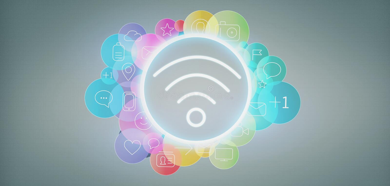 Wifi-Ikone, die durch colorfull Social Media-Ikone 3d renderin umgibt lizenzfreie abbildung