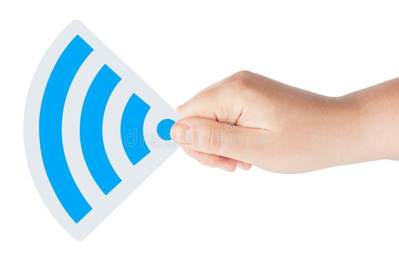 WiFi Ikone mit der Hand lizenzfreie stockfotos