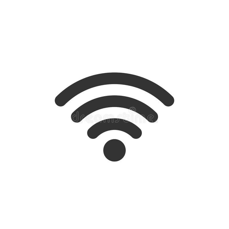 WiFi-Ikone, schwärzen auf weißem Hintergrund, Vektorillustration stock abbildung