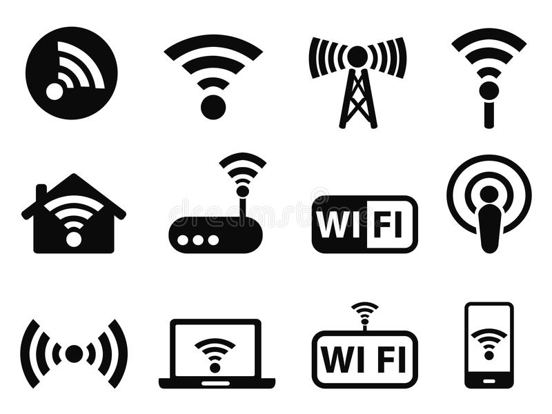 Wifi-Ikonen eingestellt lizenzfreie abbildung
