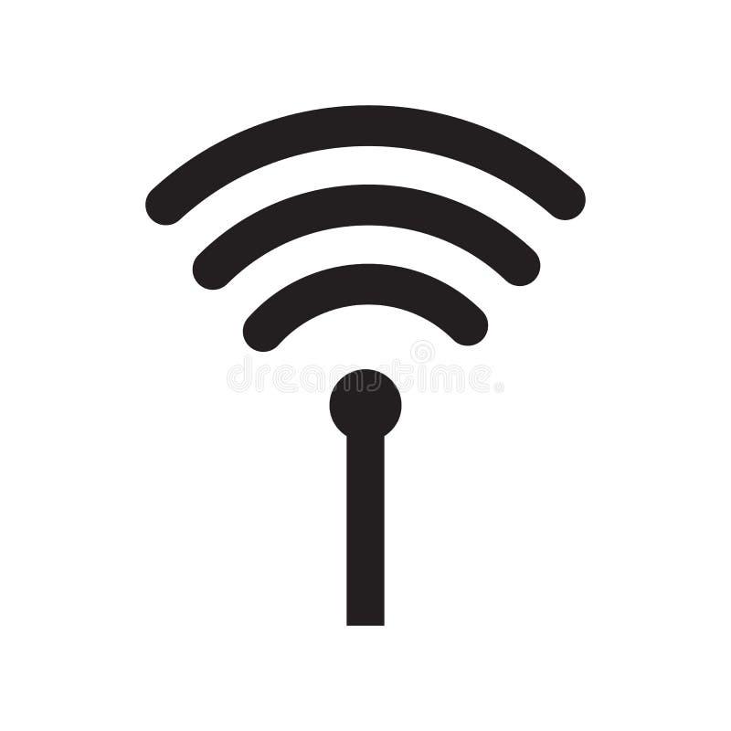Wifi inalámbrico o muestra para el vector remoto del icono del acceso a internet en el fondo blanco, estilo plano para el gráfico libre illustration