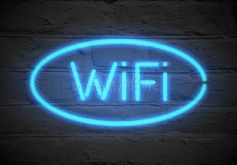 Wifi - insegna al neon Parole al neon Wi-Fi illustrazione vettoriale
