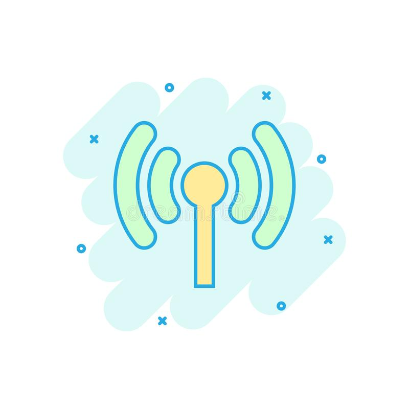 Wifi internet icon in comic style. Wi-fi wireless technology vector cartoon illustration pictogram. Network wifi business concept stock illustration