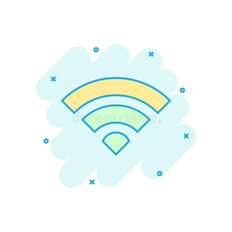 Wifi internet icon in comic style. Wi-fi wireless technology vector cartoon illustration pictogram. Network wifi business concept vector illustration