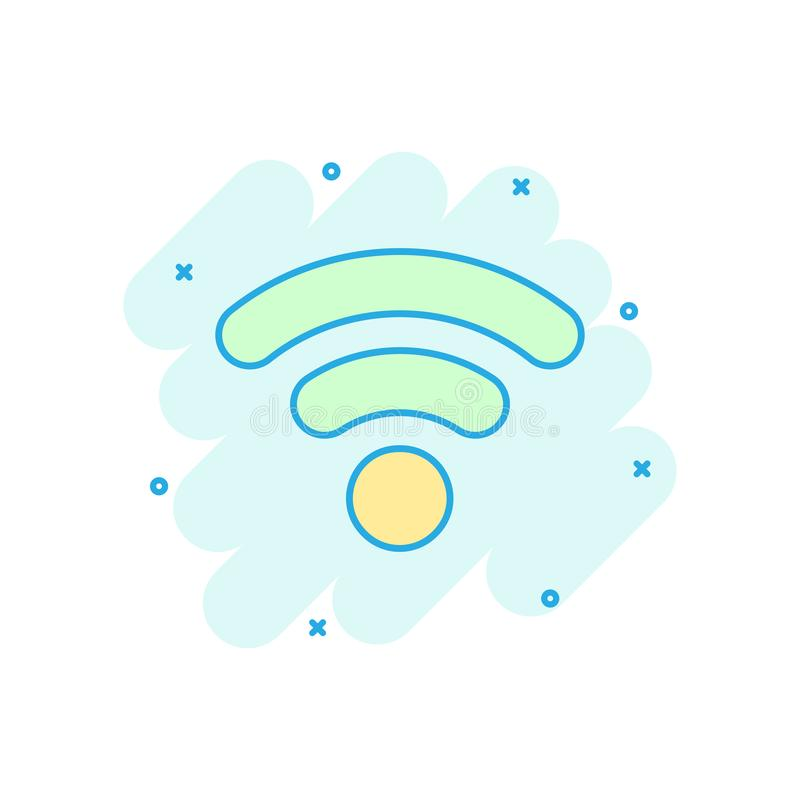 Wifi internet icon in comic style. Wi-fi wireless technology vector cartoon illustration pictogram. Network wifi business concept royalty free illustration