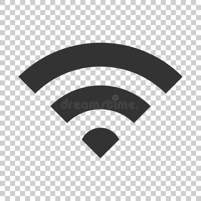 Wifi internet sign icon in flat style. Wi-fi wireless technology. Vector illustration on isolated background. Network wifi business concept royalty free illustration