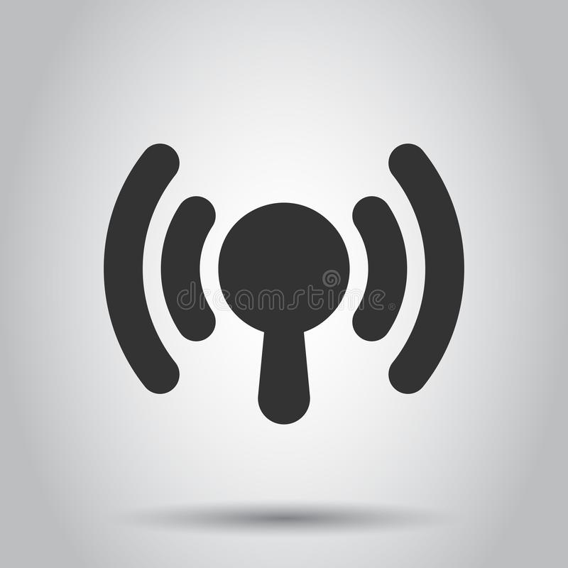Wifi internet sign icon in flat style. Wi-fi wireless technology vector illustration on white background. Network wifi business royalty free illustration
