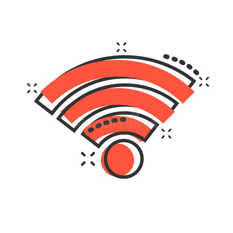 Wifi internetsymbol i komisk stil för vektortecknad film för trådlös teknologi Wi-fi pictogram för illustration Nätverkswifiaffär royaltyfri illustrationer
