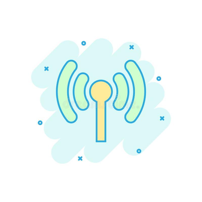 Wifi internetsymbol i komisk stil för vektortecknad film för trådlös teknologi Wi-fi pictogram för illustration Nätverkswifiaffär stock illustrationer