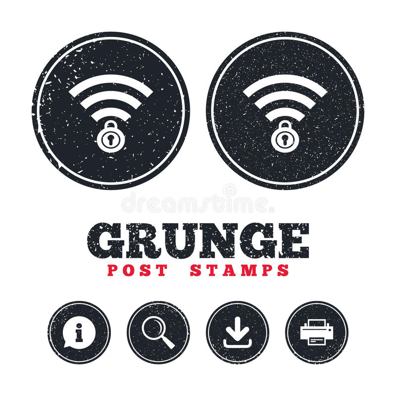 Wifi låste tecknet PasserandeWi-fi symbol radio royaltyfri illustrationer