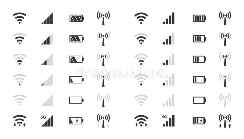 Wifi livella le icone, indicatore di potenza del segnale, carica della batteria royalty illustrazione gratis