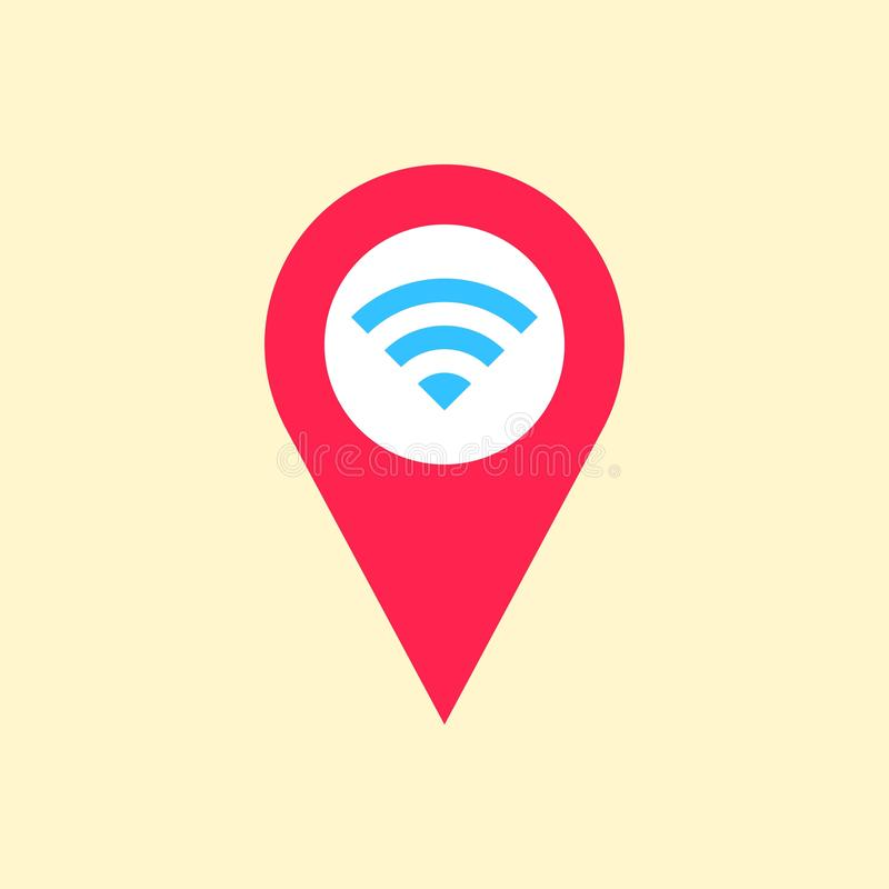 WiFi location icon, wireless local area networking vector. Illustration stock illustration