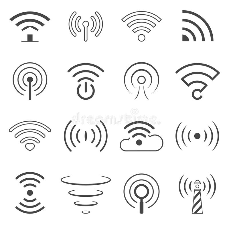 WiFi Logo Vector Elements Begreppet för trådlös teknologi undertecknar in linjen stil vektor illustrationer