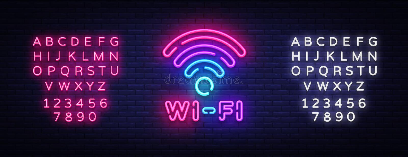 Wifi neonowego znaka wektor Wifi symbolu neonowy jarzyć się pisze list jaśnienie, Lekki sztandar, neonowy tekst również zwrócić c ilustracji
