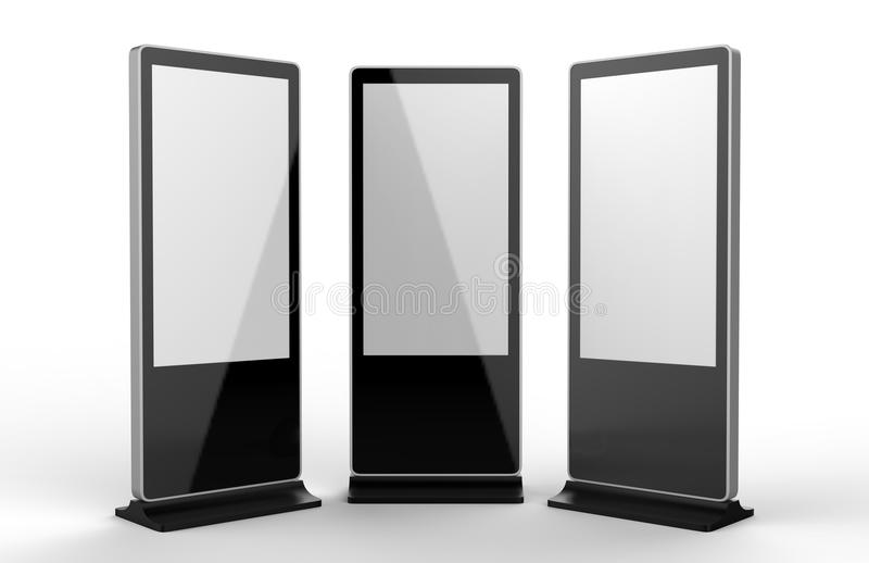 WiFi network Multi touch floor standing LCD ad display digital signage display touch monitor. 3d render illustration. WiFi network Multi touch floor standing royalty free illustration