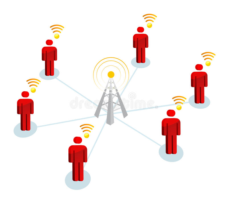 Wifi Obsługuje Sygnałowego związek royalty ilustracja