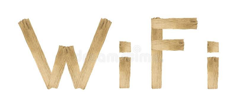 WIFI ord som göras med isolerat trä på vit bakgrund royaltyfri bild
